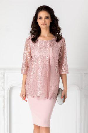 Rochie de nasa roz prafuit midi eleganta cu aplicatie din dantela fina si accesoriu fundita metalica Rania