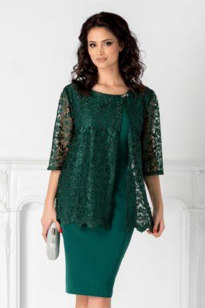 Rochie de nasa verde midi eleganta cu aplicatie din dantela fina si accesoriu fundita metalica Rania