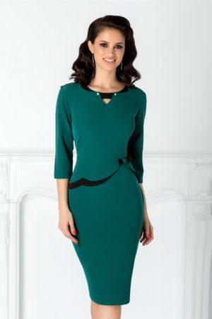 Rochie de nunta verde midi eleganta cu peplum si fundita discreta in talie Rose pentru doamne plinute