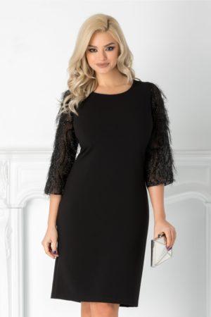 Rochie midi neagra eleganta cu fir stralucitor pe manecile trei sferturi Rovana si croiala lejera