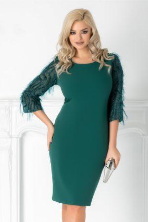 Rochie midi verde eleganta cu fir stralucitor pe manecile trei sferturi Rovana si croiala lejera