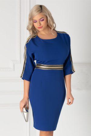 Rochie de nunta albastra eleganta scurta cu aplicatii tip plasa si decolteu rotund atragator Simina