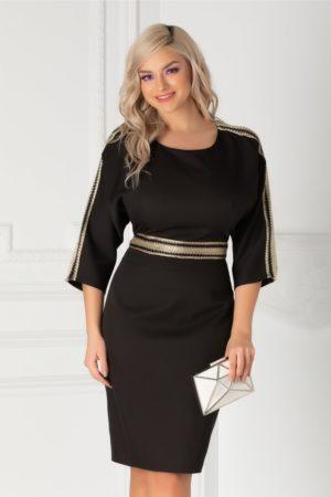 Rochie de nunta neagra eleganta scurta cu aplicatii tip plasa si decolteu rotund atragator Simina