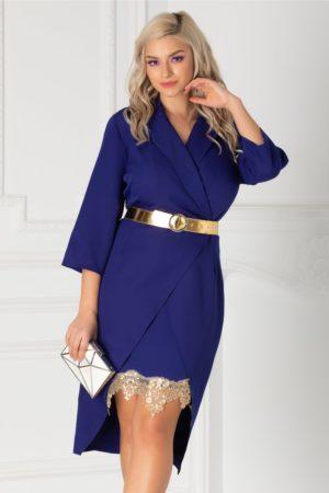 Rochie eleganta albastra de ocazie cu decolteu petrecut accesorizata cu dantela aurie la baza fustei conice Simona