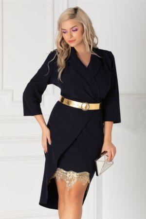 Rochie eleganta bleumarin de ocazie cu decolteu petrecut accesorizata cu dantela aurie la baza fustei conice Simona
