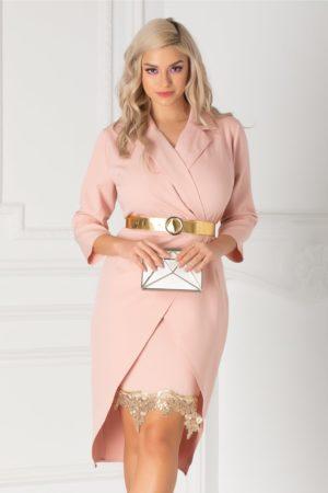 Rochie eleganta roz prafuit de ocazie cu decolteu petrecut accesorizata cu dantela aurie la baza fustei conice Simona