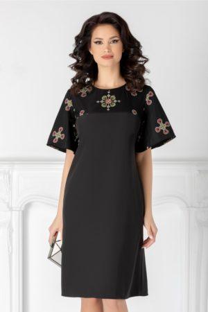 Rochie neagra eleganta cu maneci scurte evazate decorate cu tulle brodat traditional Sore