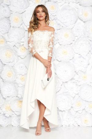 Rochie eleganta alba de ocazie cu croiala asimetrica cu umeri goi realizata din bumbac si broderie StarShinerS