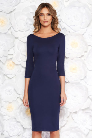 Rochie eleganta albastra-inchis de zi cu spatele decupat perfecta pentru tinute office StarShinerS