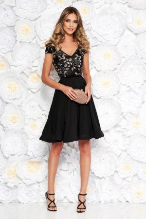 Rochie eleganta neagra din voal cu insertii de broderie pentru ocazii speciale StarShinerS