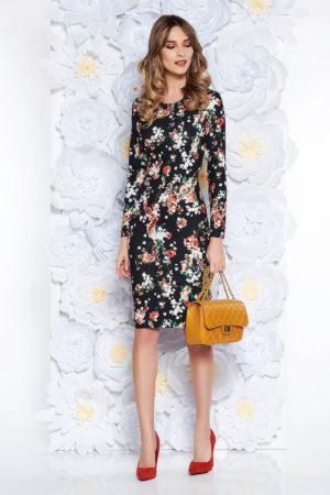 Rochie office midi neagra de zi mulata cu imprimeuri florale colorate si maneci lungi StarShinerS