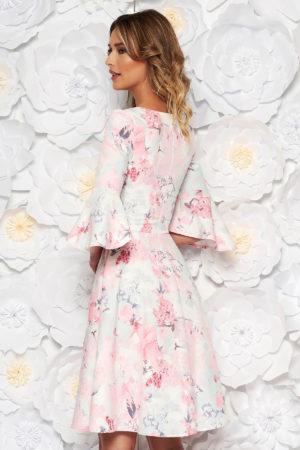 Rochie roz de zi midi cu imprimeuri florale si maneci trei-sferturi cu croi clopot StarShinerS
