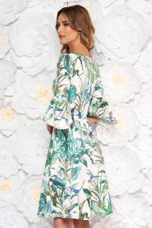 Rochie midi eleganta verde de zi cu imprimeuri florale si maneci trei sferturi clopot StarShinerS