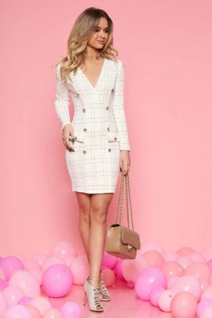 Rochie alba in carouri eleganta cu maneca lunga accesorizata cu nasturi SunShine pentru office