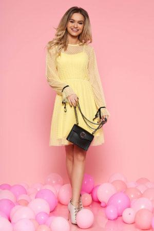 Rochie eleganta galbena de ocazie in clos din tul cu bust buretat si maneci lungi feminine SunShine