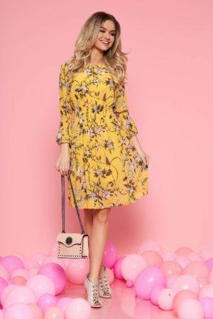 Rochie de zi galbena cu imprimeu floral si croiala in clos realizata din voal vaporos SunShine
