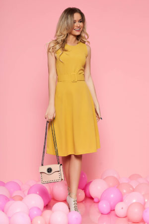Rochie elastica de zi galben mustar pentru office cu lungime pana la genunchi SunShine