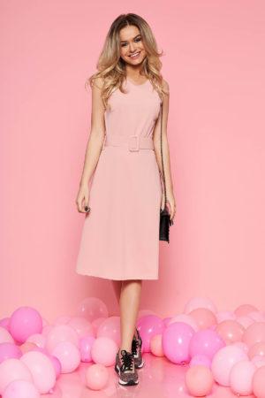 Rochie elastica de zi roz pentru office cu lungime pana la genunchi SunShine