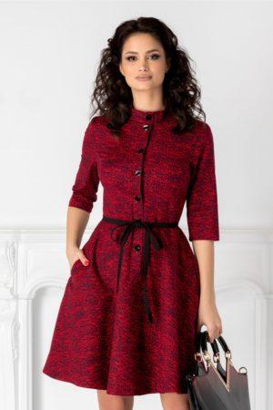 Rochie scurta rosie cu imprimeu negru si cordon subtire in talie Sylvia