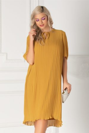 Rochie midi pana la genunchi galben mustar cu croiala larga vaporoasa cu textura plisata Tanya