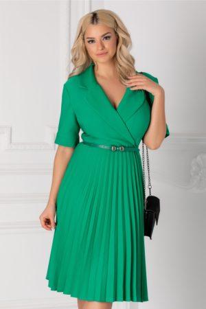 Rochie midi verde eleganta cu fusta plisata si decolteu petrecut Tanya accesorizata cu curea discreta