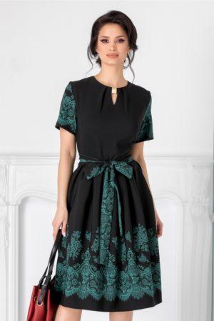 Rochie midi de zi neagra eleganta cu flori verzi Thea prevazuta cu maneci scurte
