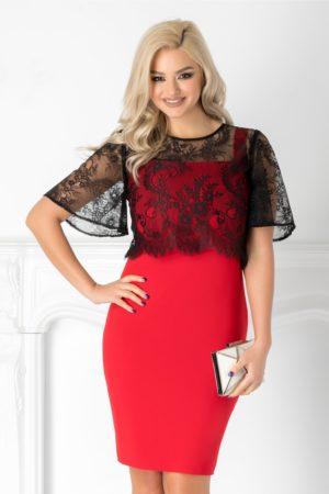 Rochie midi rosie de seara cu bolero negru din dantela pentru femei plinute Vera