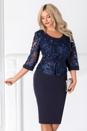 Rochie midi bleumarin de seara cu peplum in talie si dantela stilata pentru femei plinute Victoria