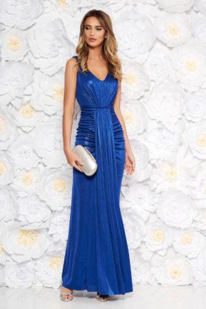 Rochie lunga albastra de seara tip sirena cu detalii decorative si croiala mulata pe corp