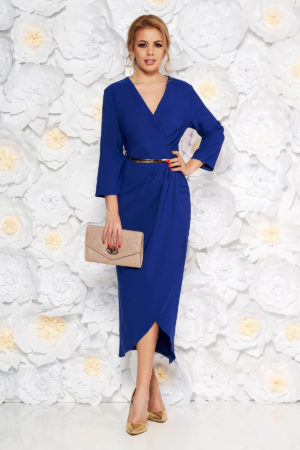 Rochie eleganta din stofa albastra pana la genunchi cu curea subtire in talie pentru ocazie