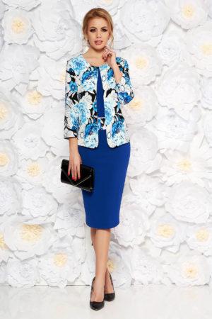Rochie midi tip creion albastra eleganta cu imprimeuri florale pentru femei plinute