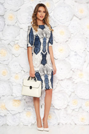 Rochie de zi tip creion albastra-inchis din jerse cu print multicolor cu model tip piele de sarpe