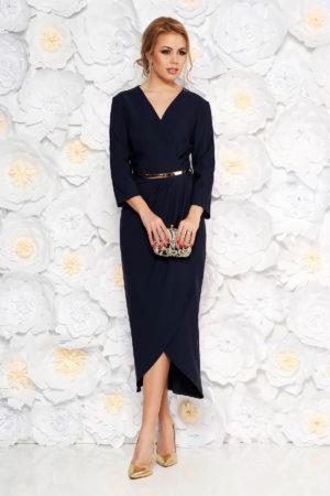 Rochie eleganta din stofa bleumarin pana la genunchi cu curea subtire in talie pentru ocazie