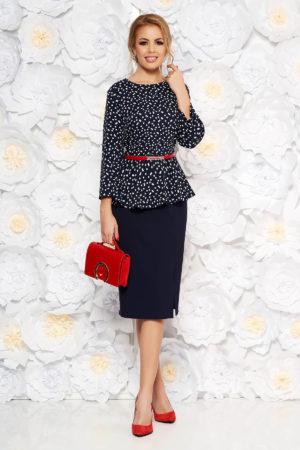 Rochie albastra-inchis eleganta tip creion din stofa cu peplum si accesoriu tip curea rosie in talie