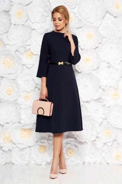 Rochie office de zi albastra-inchis din bumbac cu buzunare si curea subtire in talie