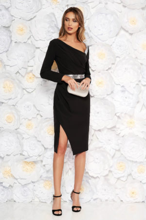 Rochie eleganta midi de seara neagra tip creion realizata din stofa cu paiete stralucitoare