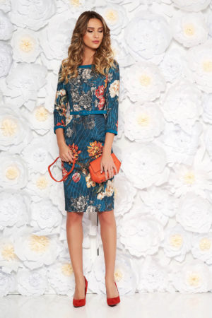 Rochie eleganta tip creion turcoaz office de zi cu imprimeuri florale si decolteu barcuta