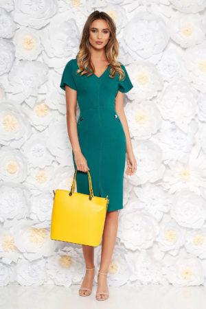 Rochie eleganta verde midi tip creion pentru office prevazuta cu nasturi si maneci scurte