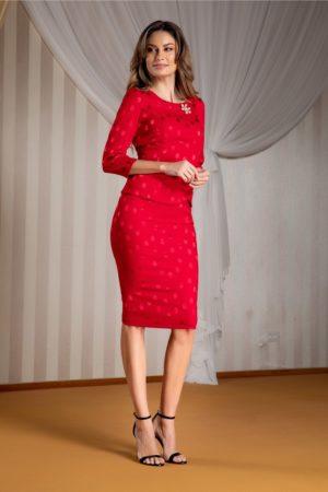 Compleu elegant de seara rosu cu bluza delicata si fusta midi mulata cu buline satinate Ginette
