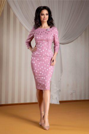 Compleu elegant de seara roz prafuit cu bluza delicata si fusta midi mulata cu buline satinate Ginette