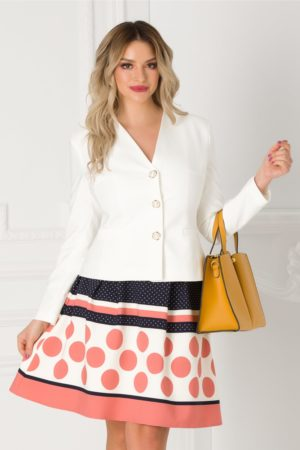 Compleu elegant dama cu sacou alb si fusta bleumarin cu buline roz LaDonna de ocazie