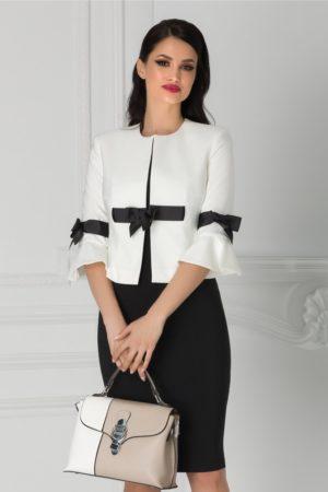 Compleu de ocazie elegant cu sacou alb si rochie neagra pentru femei plinute LaDonna