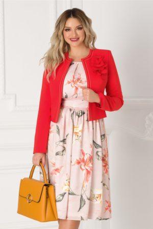Compleu de ocazie elegant cu sacou corai si rochie roz pentru femei plinute LaDonna
