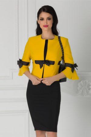 Compleu elegant de ocazie cu sacou galben si rochie neagra pentru femei plinute LaDonna