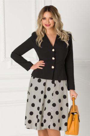 Compleu elegant de ocazie cu sacou negru si fusta cu dungi si buline pentru femei plinute LaDonna