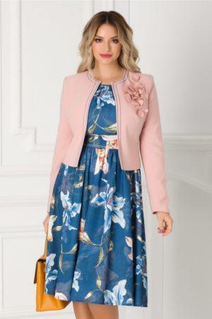 Compleu elegant de ocazie cu sacou roz si rochie bleumarin pentru femei plinute LaDonna