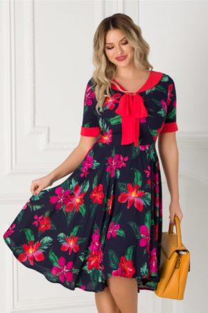 Rochie de vara office bleumarin cu imprimeu floral si guler tip esarfa Adalia pentru tinute de zi