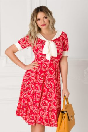 Rochie de vara office rosie cu imprimeu bej si guler tip esarfa Adalia pentru tinute de zi