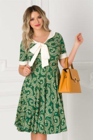 Rochie de vara office verde cu imprimeu bej si guler tip esarfa Adalia pentru tinute de zi