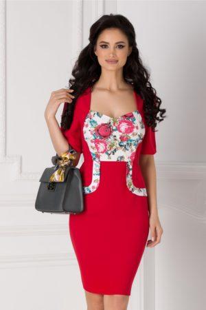Rochie midi rosie mulata de ocazie cu imprimeu floral traditional Adrienne